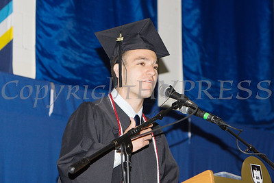 Senior Class President Jake Austin Kosack offers remarks as Mount Saint Mary College held its 55th Commencement Exercises for the graduating Class of 2018 in Newburgh, NY on Saturday, May 19, 2018. Hudson Valley Press/CHUCK STEWART, JR.