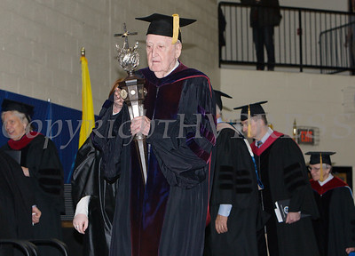 Dr. James F. Cotter, Professor of English, was the Mace Bearer for Mount Saint Mary College's 55th Commencement Exercises for the graduating Class of 2018 in Newburgh, NY on Saturday, May 19, 2018. Hudson Valley Press/CHUCK STEWART, JR.