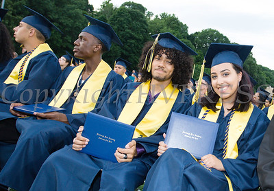 Daniel Arroyo and Bryanna Arroyo show off their newly acquired diplomas during the Newburgh Free Academy Commencement Exercises on Thursday, June 21, 2018. Hudson Valley Press/CHUCK STEWART, JR.