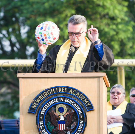 Newburgh Free Academy North Campus Co-Principal Matteo Doddo offers remarks during the 153rd Commencement Exercises for the graduating Class of 2018 on Academy Field in the City of Newburgh, NY on Thursday, June 21, 2018. Hudson Valley Press/CHUCK STEWART, JR.