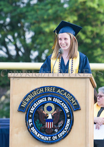 Newburgh Free Academy Salutatorian Brielle Maxwell addresses her classmates during the 153rd Commencement Exercises for the graduating Class of 2018 on Academy Field in the City of Newburgh, NY on Thursday, June 21, 2018. Hudson Valley Press/CHUCK STEWART, JR.