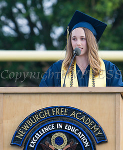 Newburgh Free Academy Valedictorian Allison Vela addresses her classmates during the 153rd Commencement Exercises for the graduating Class of 2018 on Academy Field in the City of Newburgh, NY on Thursday, June 21, 2018. Hudson Valley Press/CHUCK STEWART, JR.