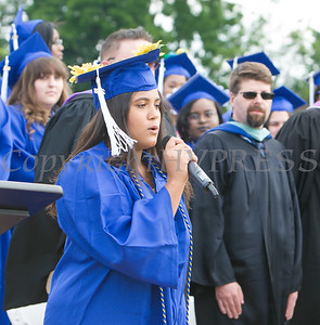 Tatiana Briggins-Smith sings the National Anthem during the Poughkeepsie High School 146th Commencement Exercises for the graduating Class of 2018 on Friday, June 26, 2018 in Poughkeepsie, NY. Hudson Valley Press/CHUCK STEWART, JR.