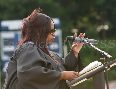 Kiesha Tillman introduces the Keynote Speaker during the Poughkeepsie High School 146th Commencement Exercises for the graduating Class of 2018 on Friday, June 26, 2018 in Poughkeepsie, NY. Hudson Valley Press/CHUCK STEWART, JR.