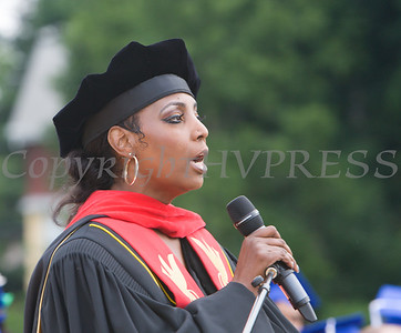 Board President Dr. Felicia Watson offers remarks during the Poughkeepsie High School 146th Commencement Exercises for the graduating Class of 2018 on Friday, June 26, 2018 in Poughkeepsie, NY. Hudson Valley Press/CHUCK STEWART, JR.