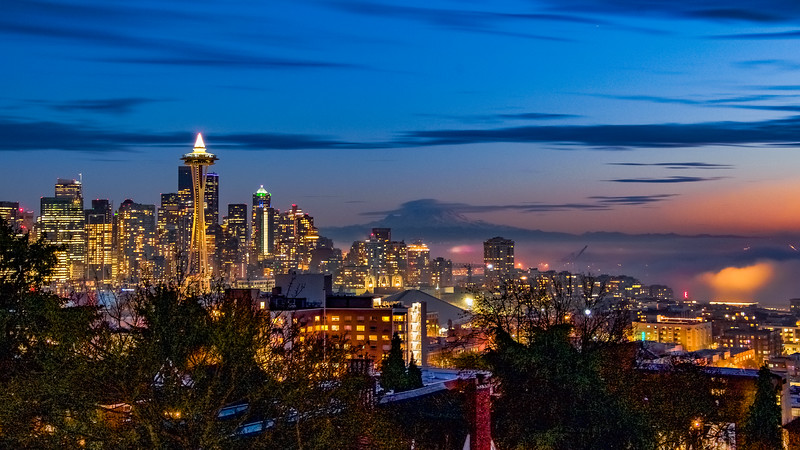 Foggy Seattle Blue Hour