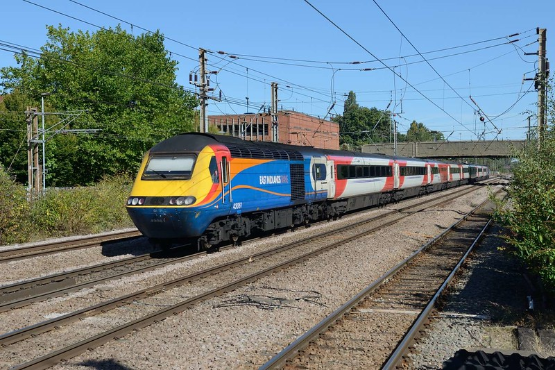 13 September 2018 :: LNER's 1D11, the 1103 from King's Cross to Leeds was today seen with power cars hired from East Midlands Trains.  43061 is at the rear of the train and pictured at Welwyn Garden City