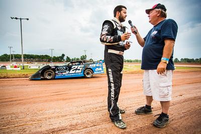 Mason Zeigler (L) and Lucas Oil Late Model Dirt Series announcer James Essex (R)