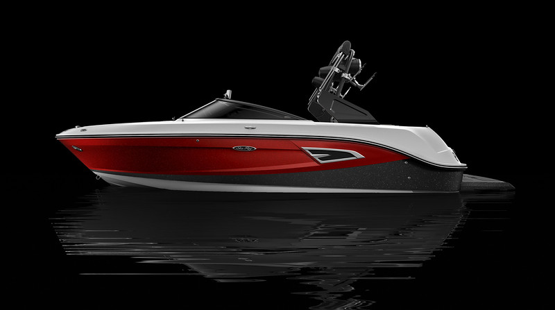 White Hull Bottom, Black Metallic Hull Side Aft, Rally Red Metallic Hull Side Forward