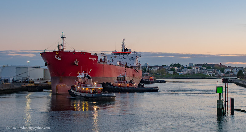 The tanker STI Soho prepares to leave East Boston on May 13, 2018.