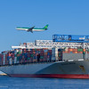 Aer Lingus A330-300 arriving Boston and passing over the Containership Helskinki Bridge at Conley Terminal in South Boston.