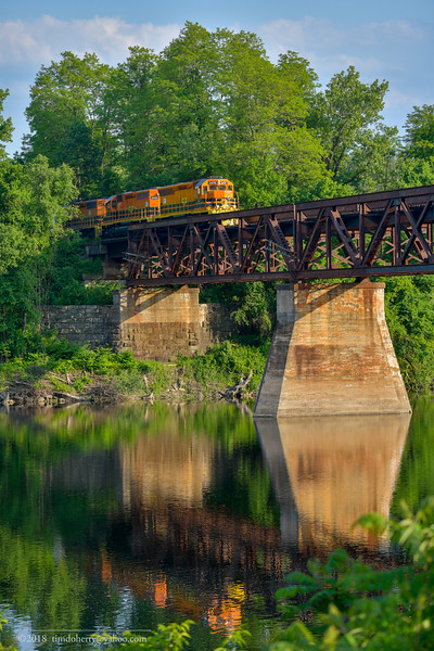 Northbound NECR train 611 crosses over the Connecticut River in Northfield, Massachusetts on June 8, 2018.