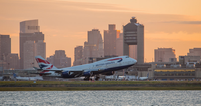 British Airways flight 212 with Boeing 747-400 taking off from Boston Logan Airport on May 13, 2018.