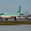 Aer Lingus A330-300 makes the turn from the taxiway to runway 22R at Boston's Logan Airport.