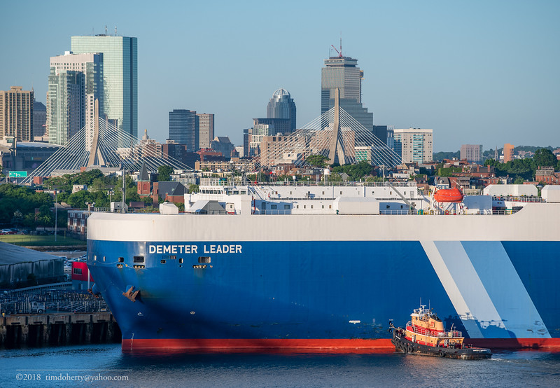 The NYK LIne Auto Carrier Demeter Leader arriving in Boston Harbor on June 14, 2018.