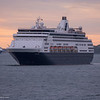 The Holland America Line ships Massdam and Veendam arrive together in Boston.
