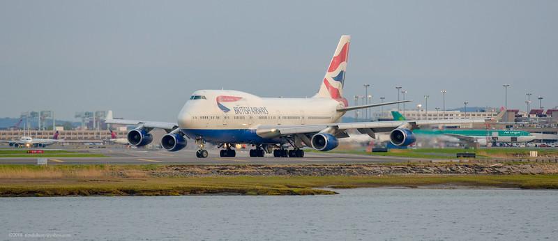 British Airways Flight 212 makes the turn towards runway 22R.