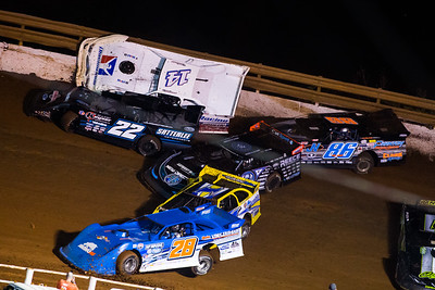 Dennis Erb, Jr. (28), Vic Hill (1), Scott Bloomquist (0), Gregg Satterlee (22), Darrell Lanigan (14) and Jeff Neubert (86)