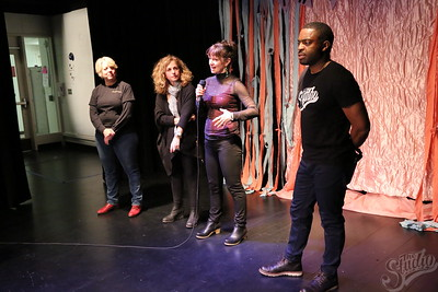 (Left to Right) Carolyn Kallenborn, Professor in School of Human Ecology, Sari Judge, StartUp: Entrepreneurial Learning Community Project Coordinator, Marina Kelly, Creative Arts Community Coordinator, Faisal Abdu'Allah, Creative Arts Community Faculty Director introducing The 2018 Project Thrift Fashion Show.