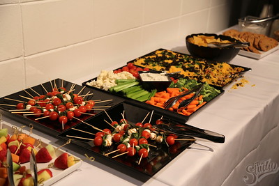 Delicious catered food at the Welcome Back Studio Showcase, 1-24-18.