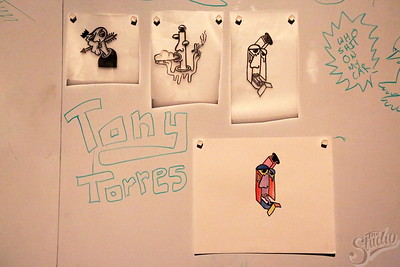 Artwork by Toney Torres on display at the Welcome Back Studio Showcase, 1-24-18.