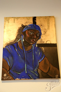 "Painting by Adjua Nsoroma on display at the ""Youth Culture"" Exhibition at the Chazen Museum"