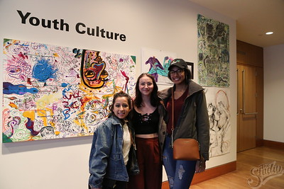 "(l-r) Laura Cardenas, Michaela Laskey, Deirdra Lambright, attending the ""Youth Culture"" Exhibition at the Chazen Museum."