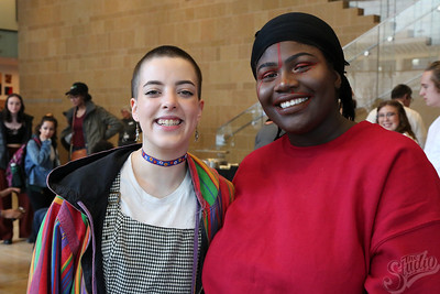 "Simone Williams (l) and Isha Camara, performing artists at the ""Youth Culture"" Exhibition at the Chazen Museum"