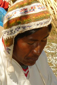 Uros  tribesman in traditional garb.
