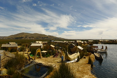 The floating island Uros Khantati is home to around 200 people.