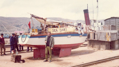 Tristan Jones and Sea Dart ready for transport. Source of photo unknown.