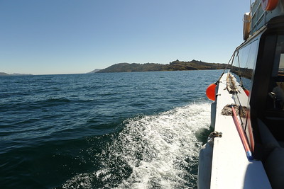 Headed to Taquile Island via motor launch.