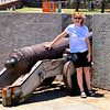 Anne with cannon on the riverfront in Montevideo