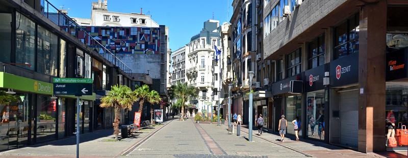 View of Sarandí pedestrian Street in Montevideo oOld Town