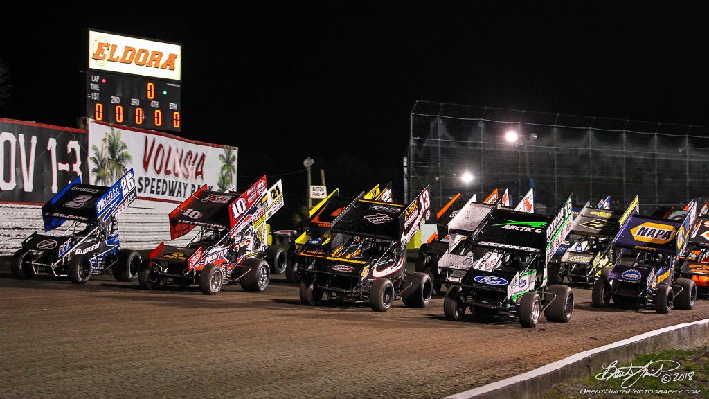 DIRTcar Nationals - Arctic Cat All Star Circuit of Champions - Volusia Speedway Park - 4 wide salute