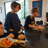 Greta, Ollie and Mara learn how to make swirl bread with Gpa.