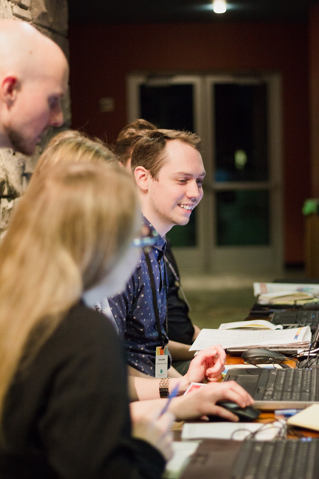 Box office staff assist Film Fest patrons during the 2018 First Look at the Fest.