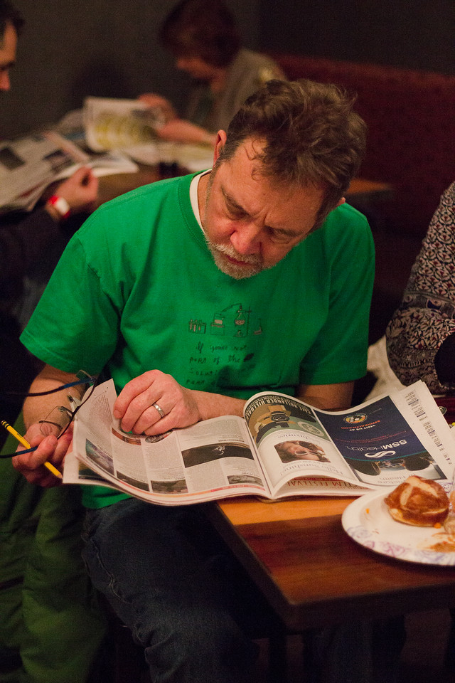 A Film Fest patron devours his Film Guide during the 2018 First Look at the Fest.