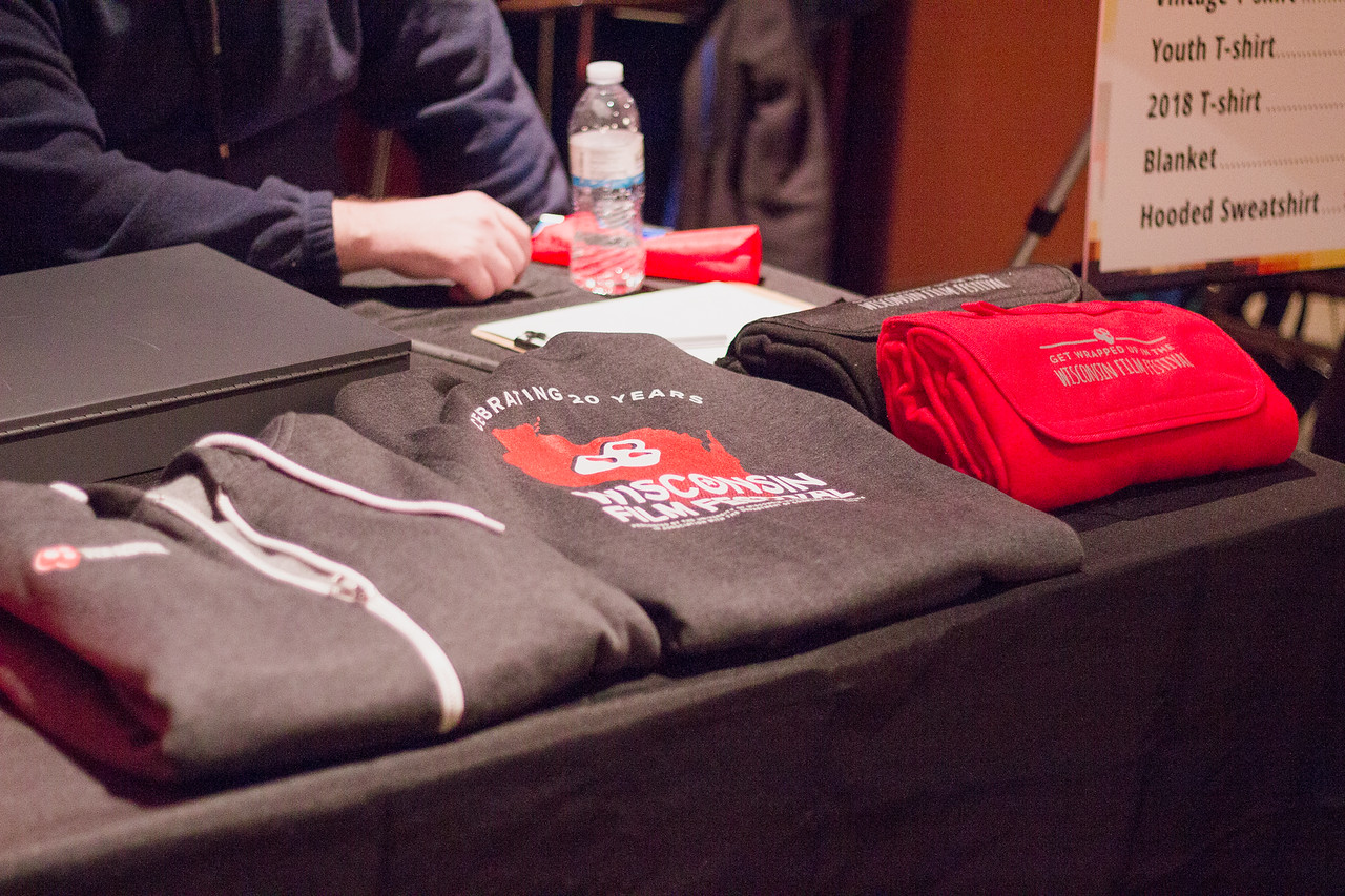 Sweatshirts and fleece blankets on sale during the 2018 First Look at the Fest.
