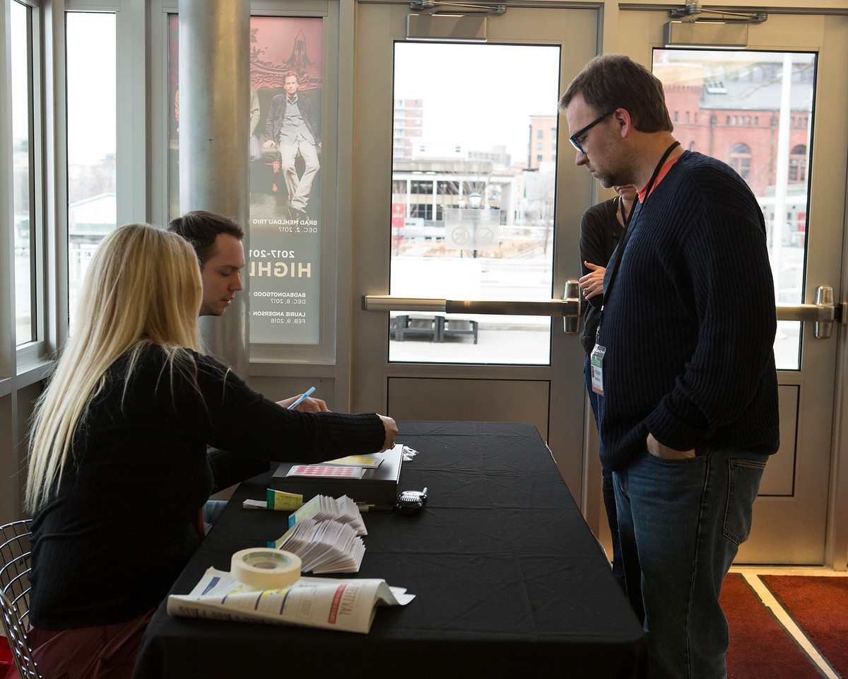 The will-call table at the 2018 Wisconsin Film Festival.