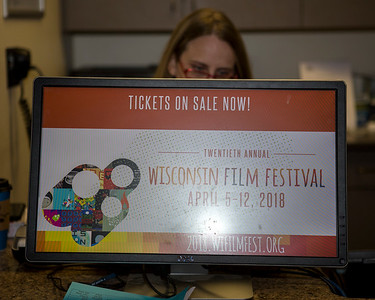 Campus Arts Ticketing Box Office in Memorial Union during opening day of ticket sales for the 2018 Wisconsin Film Festival.
