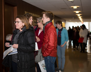 Patrons eagerly wait in line for tickets to the 2018 Wisconsin Film Festival on opening day of ticket sales.