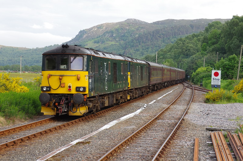73967+73966 bring up the rear of return leg of the SRPS Railtour 16:17 Kyle of Lochalsh - Paisley Gilmore St at Garve 09/06/18