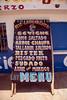Peru : Menu típico en un restaurant Peruano sobre la ruta 1S / Menu at a Peruvian restaurant on Route 1S / Peru : Menükarte bei einem peruanischen Restaurant an der Route 1S © Henry von Wartenberg/LATINPHOTO.org