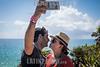 Mexico : Julio 28 , 2017 . Quintana Roo , Turistas tomandose una selfie en las costas de Tulum , cerca del sitio arqueologico / Tourists with smartphone in Tulum / Mexiko : Touristen mit Smartphone in Tulum © Kala Moreno Parra/LATINPHOTO.org
