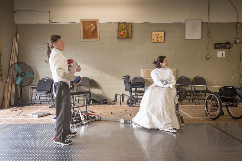 Dr. Rossana Pasquino (right) Italian Paralympic fencer at the Kingston Fencing Club, 1 August, 2018.