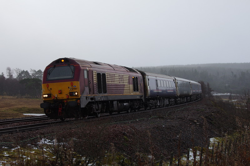 67007 at Dalwhinnie working the 11:12 Polmadie depot - Inverness empty stock 02/01/18