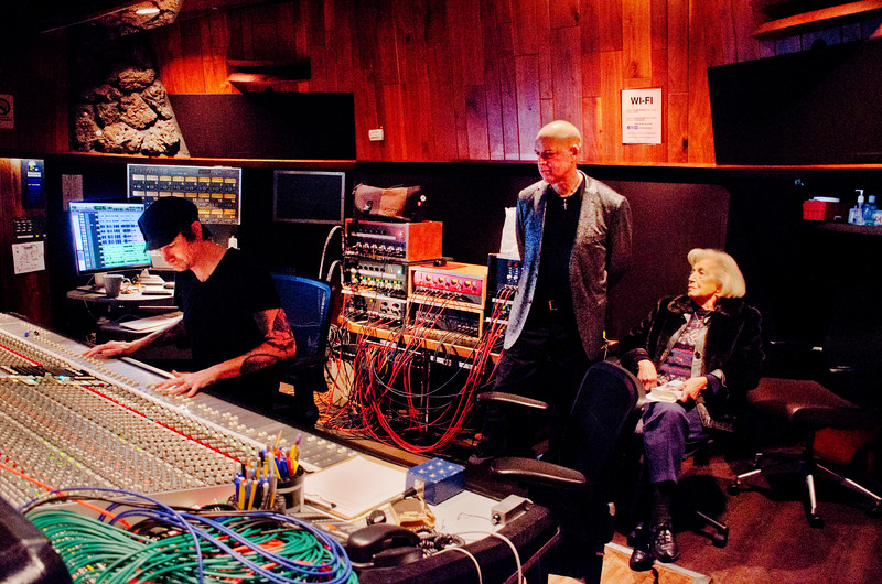 Freddy Clarke and Wobbly World at Fantasy Recording Studios - Freddy Clarke, standing; Pearl Clarke on right, seated