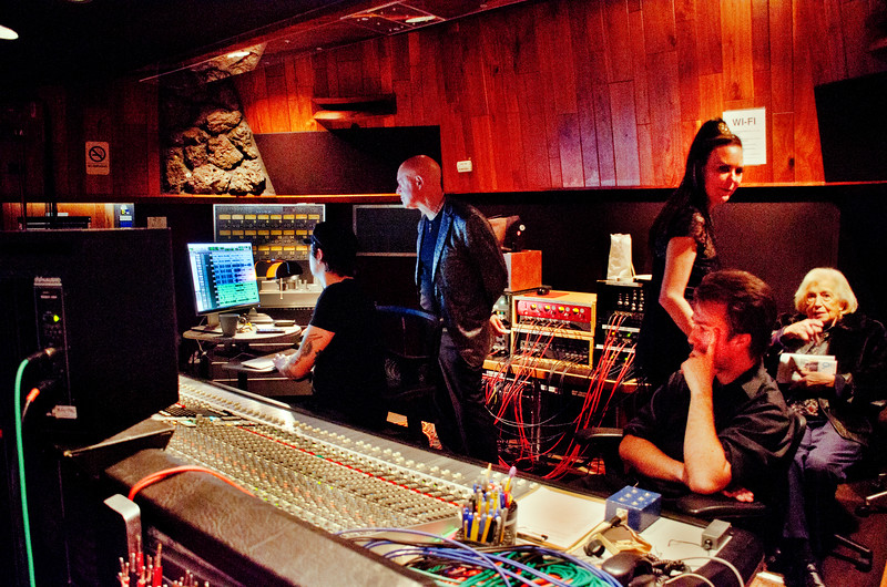 Freddy Clarke and Wobbly World at Fantasy Recording Studios - Freddy Clarke,  looking over tecnicians head at monitor; Margaret Mitchell standing; Pearl Clarke, seated at right
