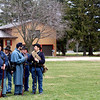 A group of soldiers with the 10th Illinois Infantry Re-enactment Group lined up to practice their drills and marksmanship – with blanks – at Knights Park in Sandwich on Friday during the group's annual encampment. Soldiers also led local students who visited the encampment through training drills to teach the students about what it was like to be a soldier.